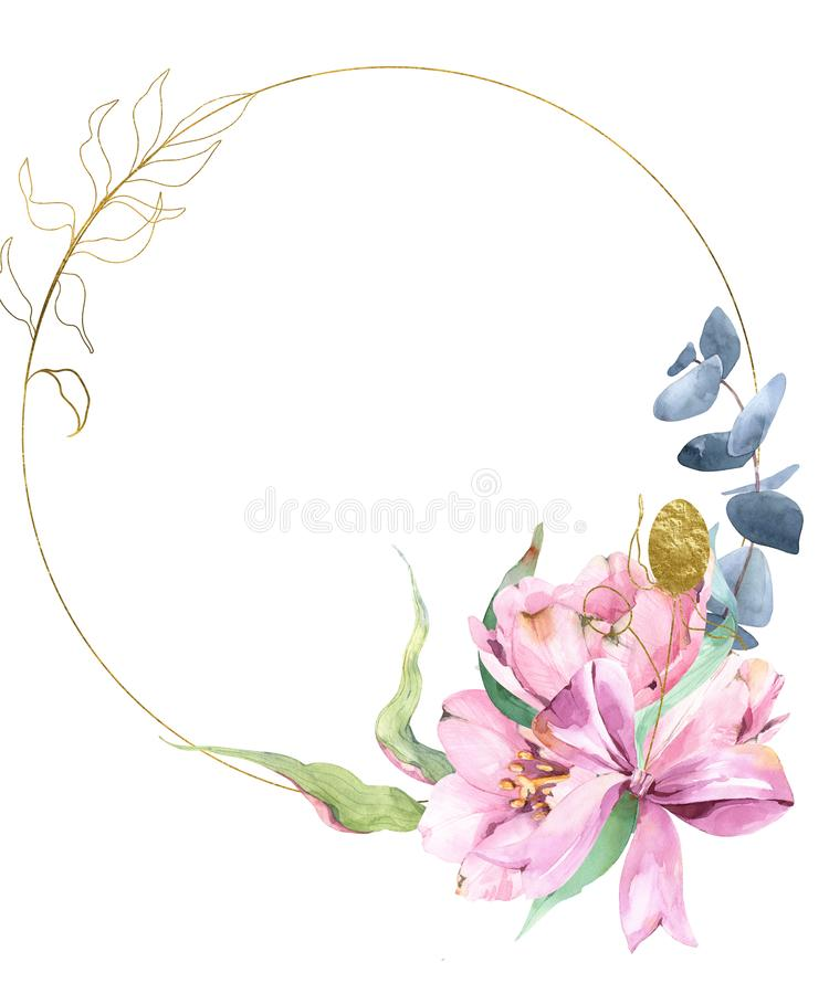 Guld- krans med vattenfärgen och guld- lövverk, tulpan, eukalyptus, royaltyfri illustrationer