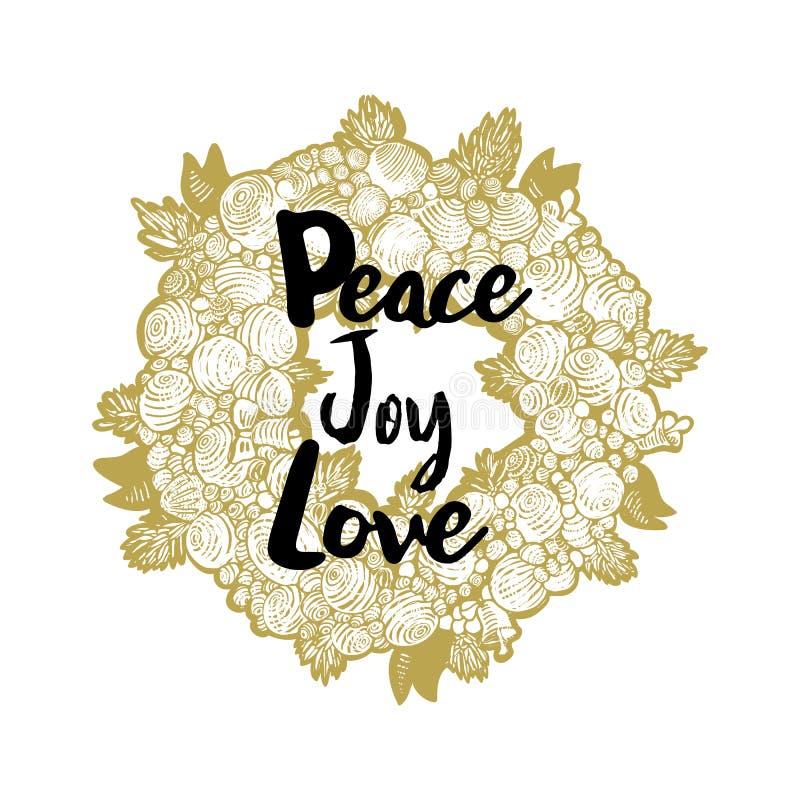 Guld- krans- och fredförälskelseglädje för Xmas stock illustrationer