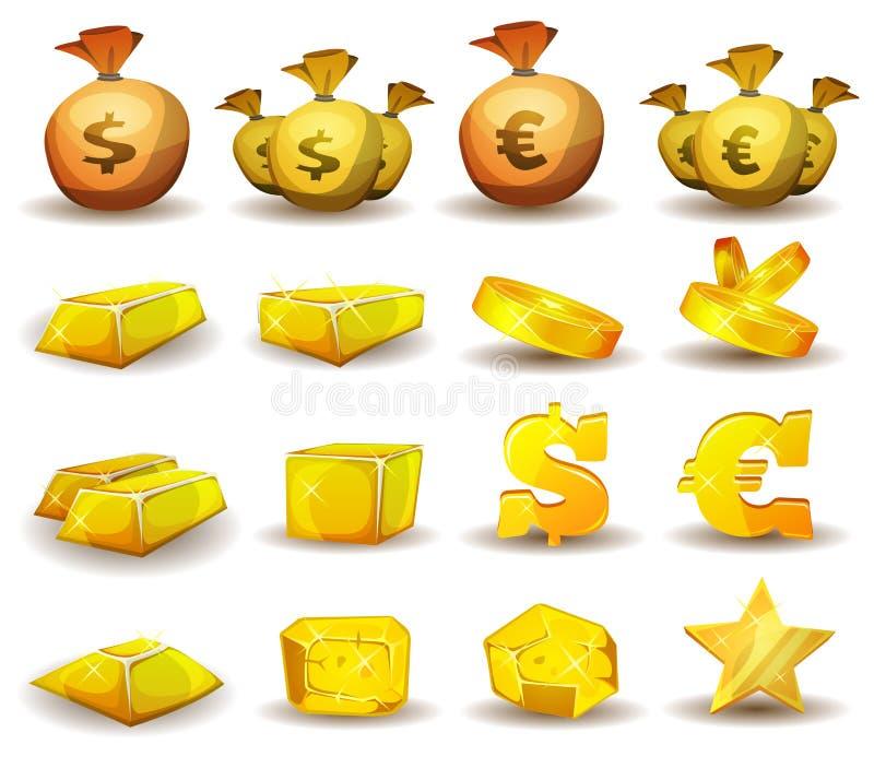 Guld- kreditering, pengar, myntuppsättning för modig manöverenhet royaltyfri illustrationer