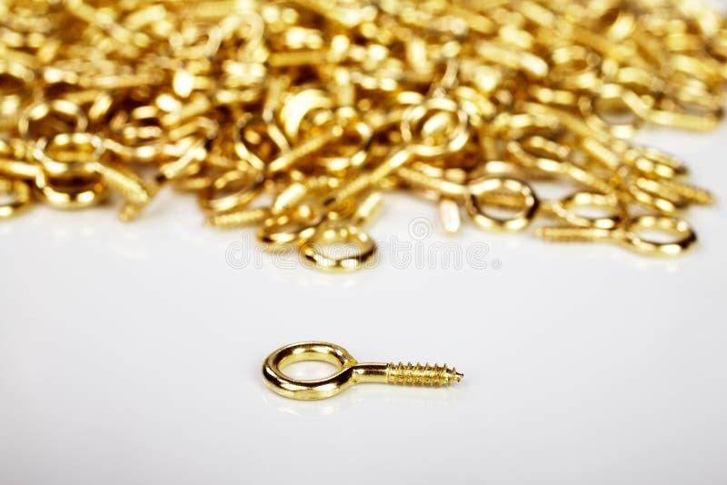 Guld- krokar som används av bildframers royaltyfri bild