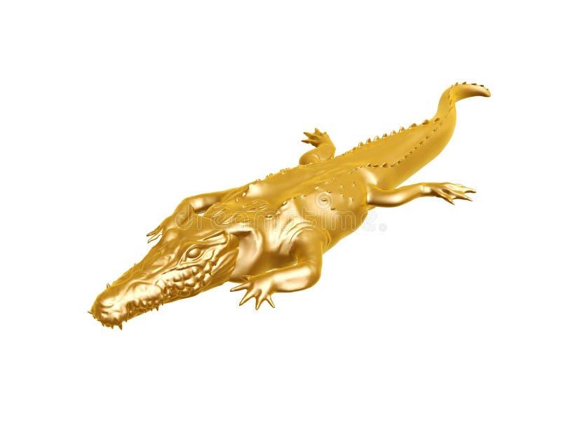 Guld- krokodil royaltyfri foto