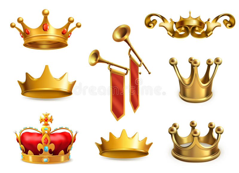 Guld- krona av konungen symboler för pappfärgsymbol ställde in vektorn för etiketter tre vektor illustrationer