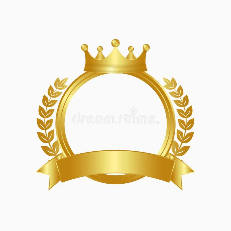 Guld- krona, lagerkrans och cirkelram Vinnaretecken med det guld- bandet vektor stock illustrationer