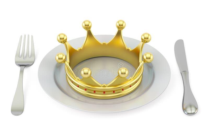 Guld- krona på en platta med gaffeln och kniven Kunglig kokkonstconce vektor illustrationer