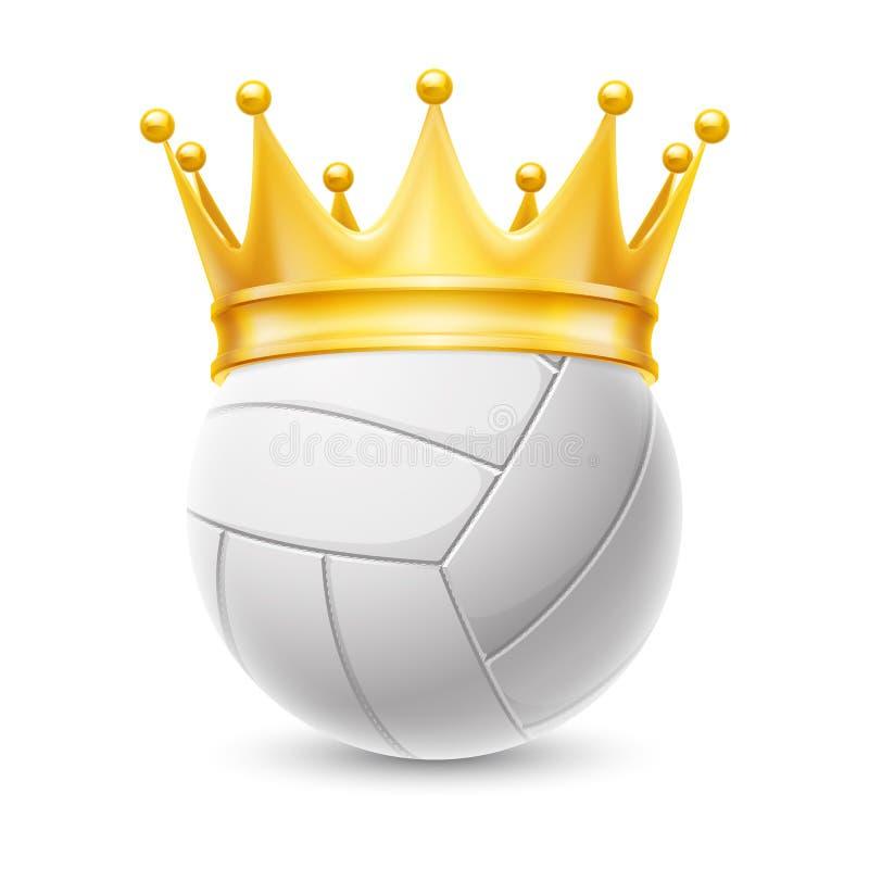 Guld- krona på en volleybollboll vektor illustrationer