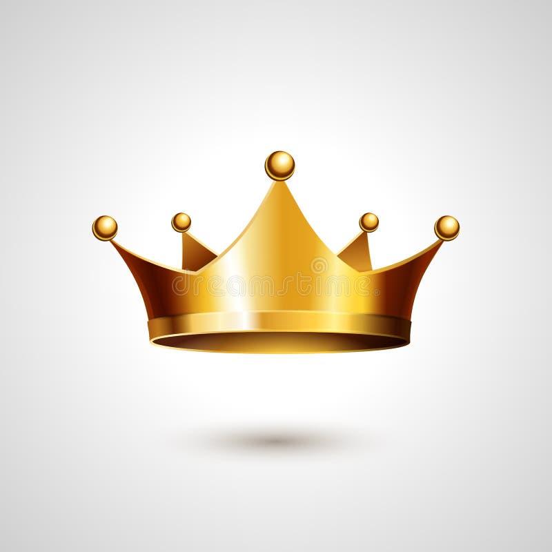 Guld- krona som isoleras på vit bakgrund royaltyfri illustrationer
