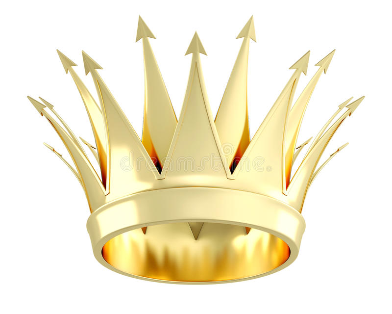 Guld- krona som isoleras på vit bakgrund illustration 3d stock illustrationer