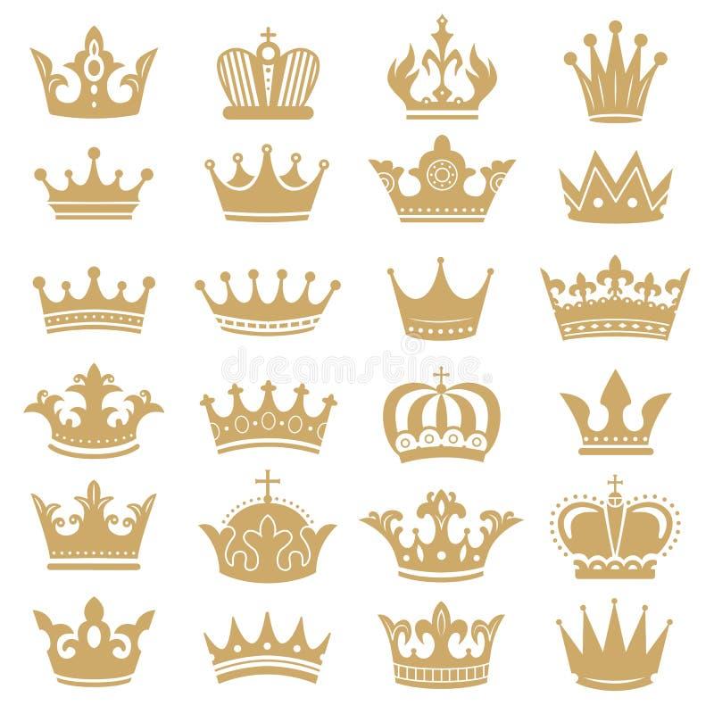 Guld- kronakontur Kungliga kronor, kröningkonung och lyxig uppsättning för vektor för symboler för drottningtiarakonturer stock illustrationer