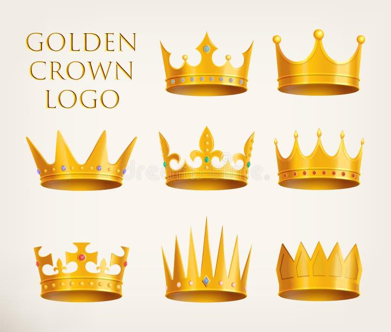 Guld- kronalogo eller kunglig huvudbonadsymbol vektor illustrationer