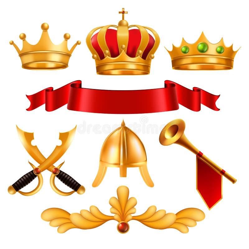 Guld- kronavektor Guld- ädelstenar för konung Royal Crown With, röd bandsammettextil, Swordm hjälm, horn Monarkimakt vektor illustrationer