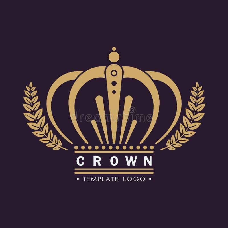 Guld- kronavektor Linje konstlogodesign Kungligt symbol för tappning av makt och rikedom Idérikt affärstecken vektor illustrationer