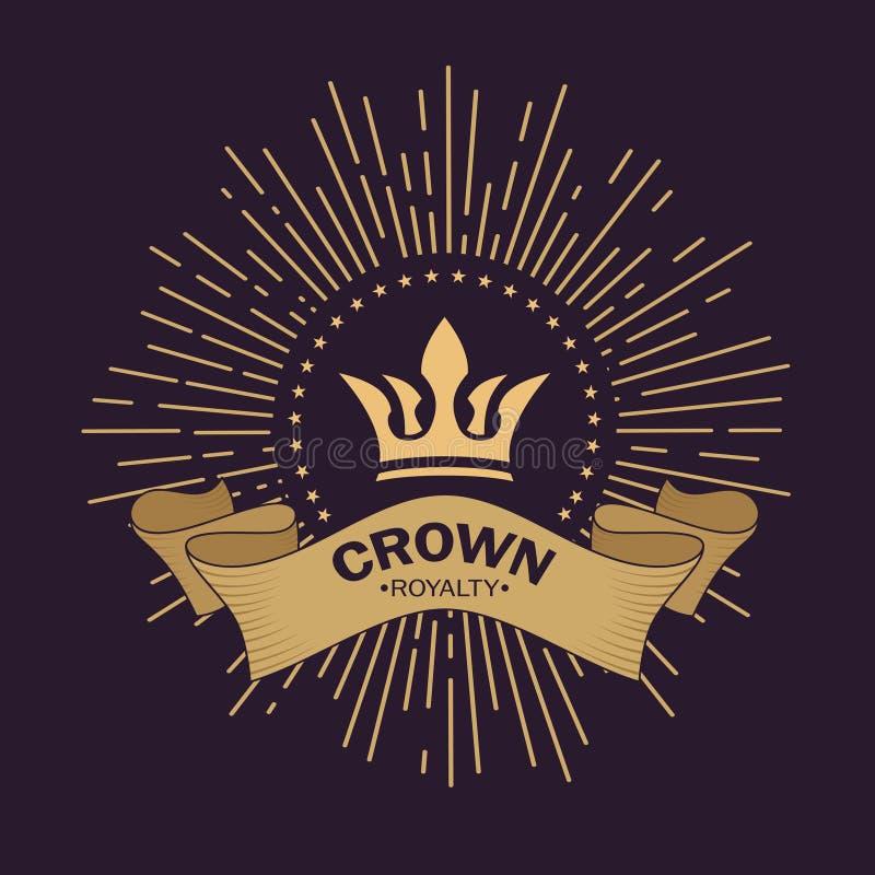 Guld- kronavektor Linje konstlogodesign Kungligt symbol för tappning av makt och rikedom Krökt band för text Strålar av härlighet vektor illustrationer
