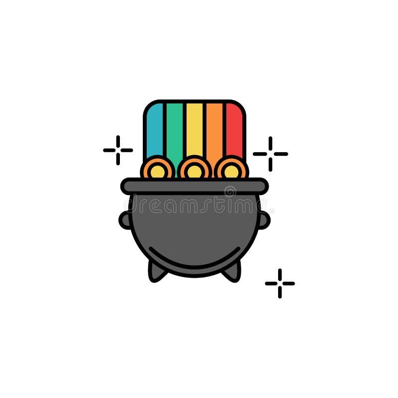Guld- kruka, mynt, regnbågesymbol Beståndsdel av symbolen för dag för färgSt Patricks Högvärdig kvalitets- symbol för grafisk des vektor illustrationer