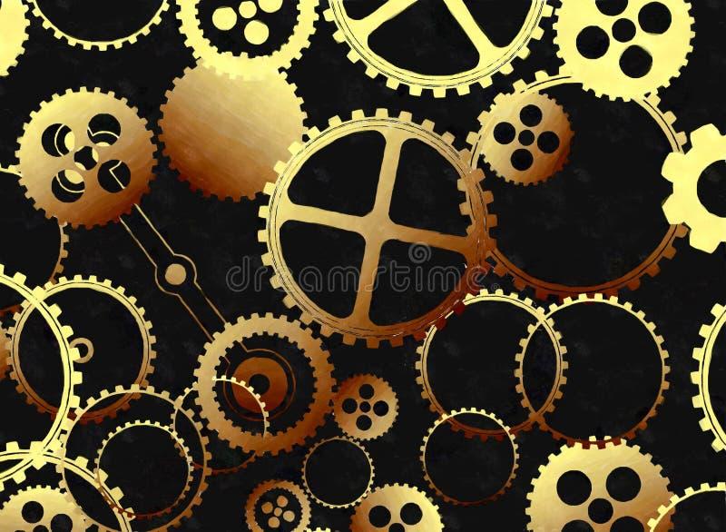 Guld- kugghjul i vattenfärg stock illustrationer