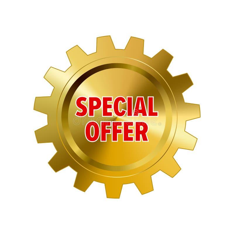 Guld- kugghjul med ` för specialt erbjudande för ord`, vektor illustrationer