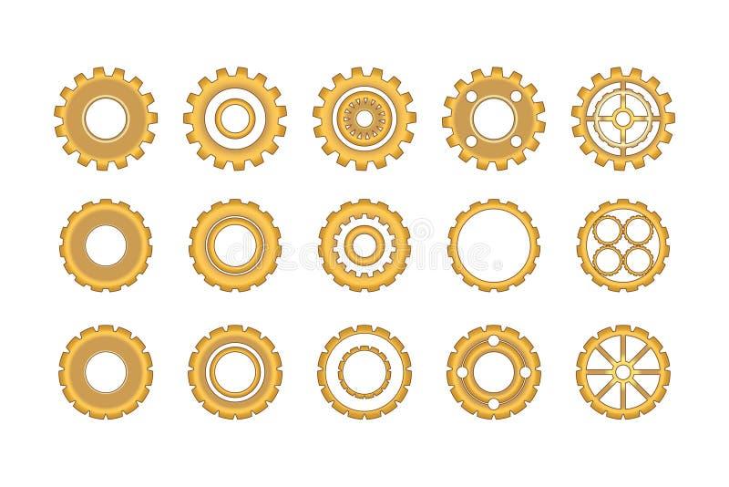 Guld- kugghjulsymbolsuppsättning stock illustrationer