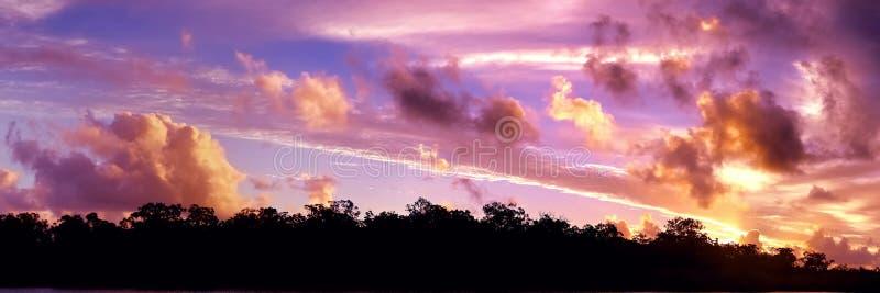 Guld- kulör tropisk solnedgångcloudscape arkivbilder
