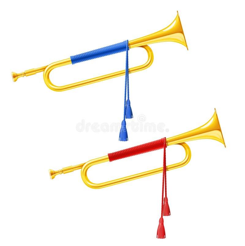 Guld- kunglig horn- trumpet med den blåa och röda pomponen Musikinstrument för konungorkester royaltyfri illustrationer