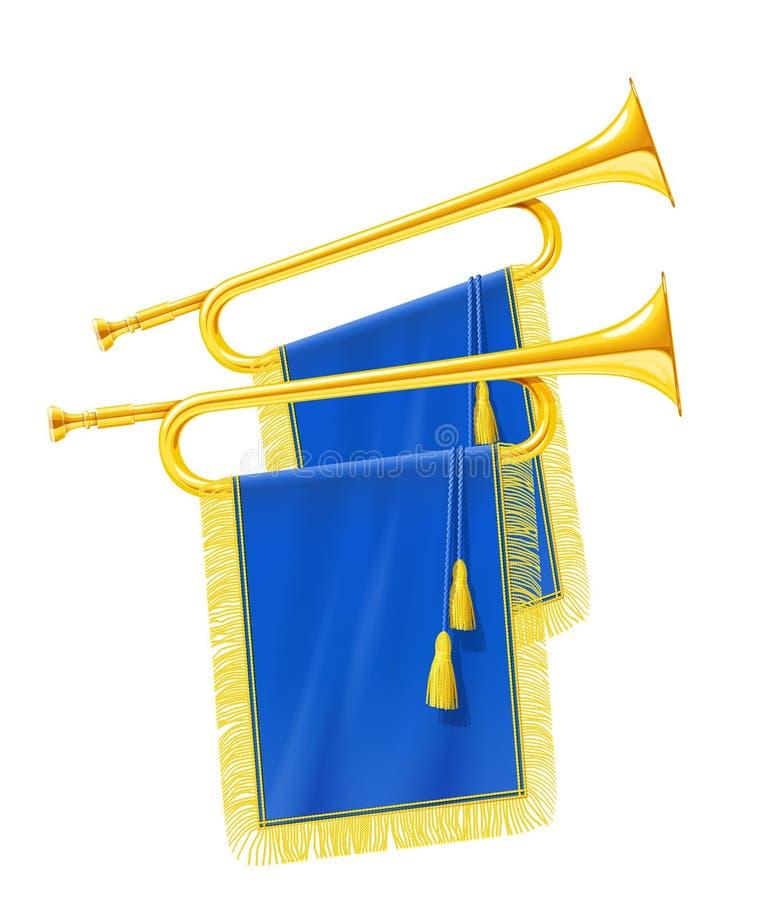 Guld- kunglig horn- trumpet med det blåa banret Musikinstrument för konungorkester royaltyfri illustrationer