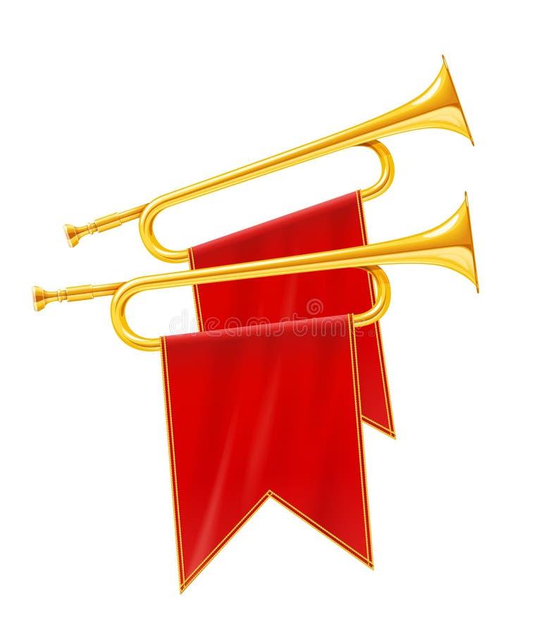 Guld- kunglig horn- trumpet med det röda banret Musikinstrument för konungorkester stock illustrationer