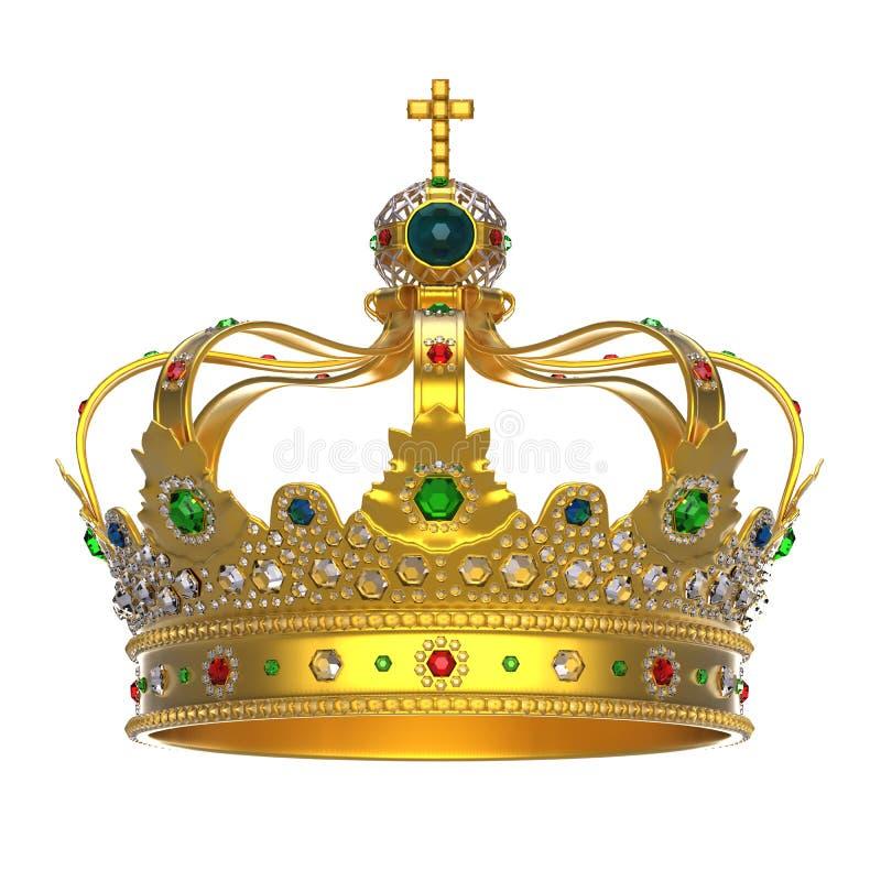 Guld- kunglig krona med juvlar stock illustrationer