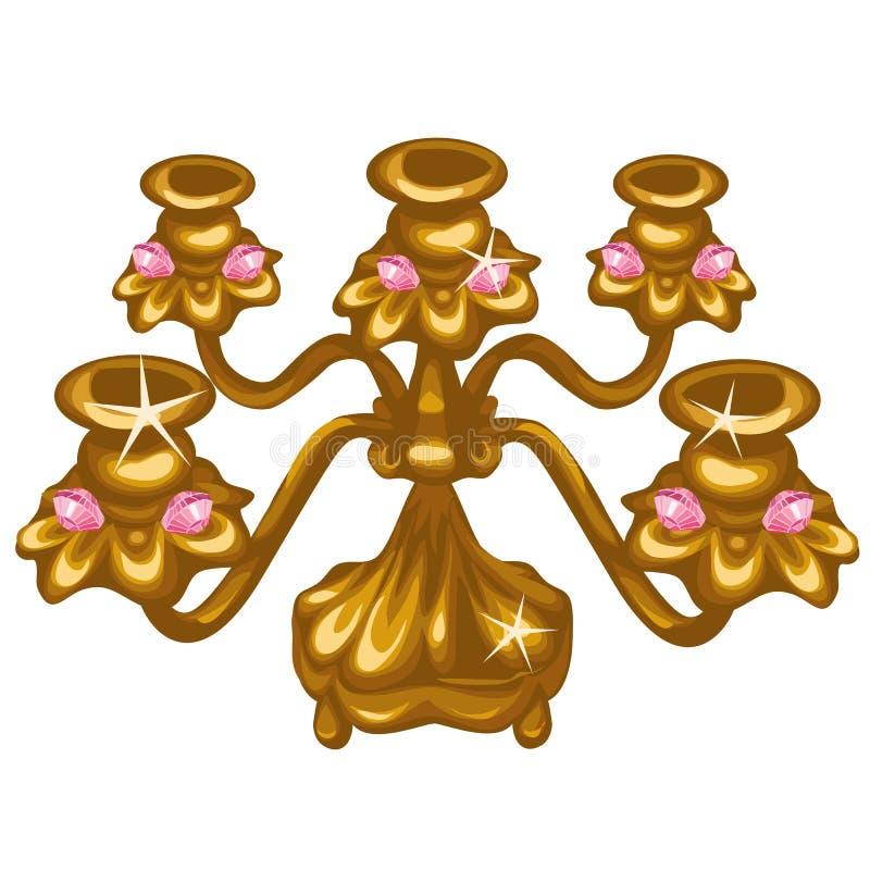 Guld- kunglig tappninglampa på vit bakgrund royaltyfri illustrationer