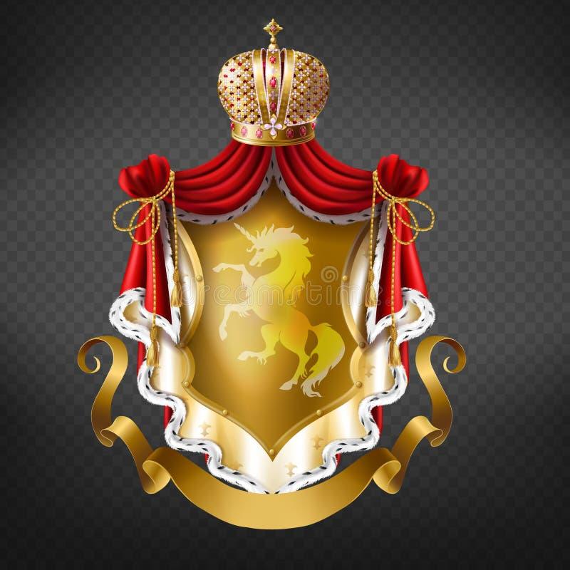 Guld- kunglig vapensköld för vektor med kronan stock illustrationer