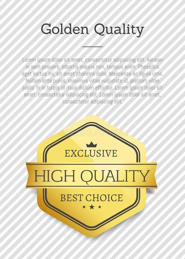 Guld- kvalitets- exklusiv bästa prima hög klass vektor illustrationer