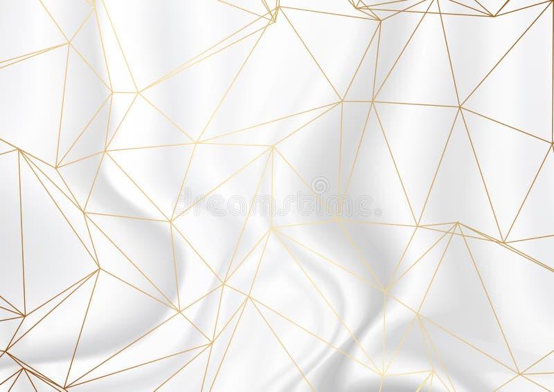 Guld- låg poly design på bakgrund för silvermarmortextur vektor illustrationer