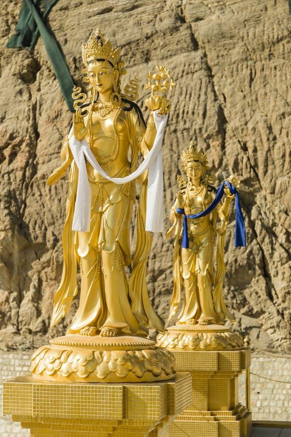 Guld- lagar nära stor Buddhapunkt i Thimphu Bhutan royaltyfri bild