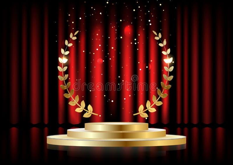Guld- lagerkrans över det röda runda podiet med moment framme av gardinerna royaltyfri illustrationer