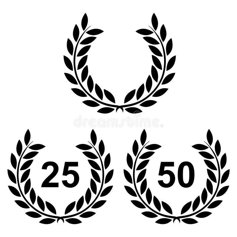 Guld- lagerkrans 25 och 50 på en vit bakgrund stock illustrationer