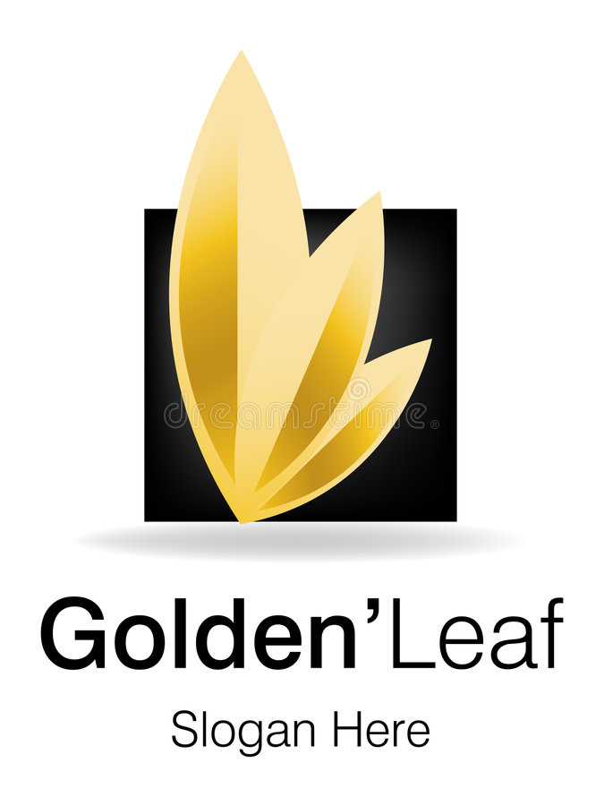 guld- leaflogo royaltyfri illustrationer