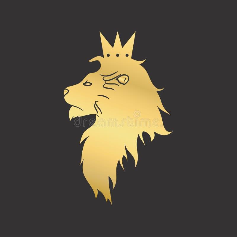 Guld- lejon med en krona Logomall också vektor för coreldrawillustration vektor illustrationer