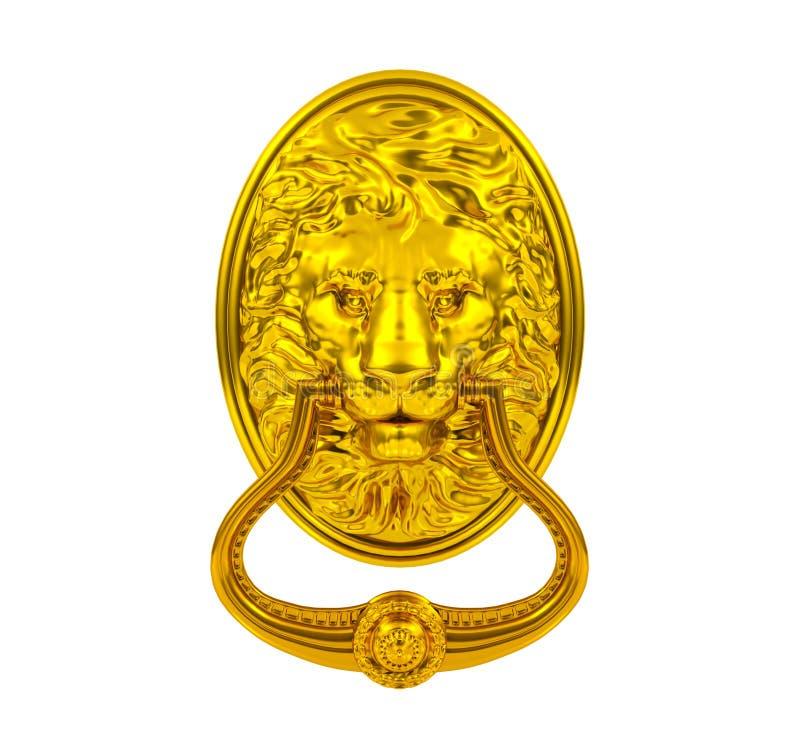 Guld- lejondörrknackare stock illustrationer