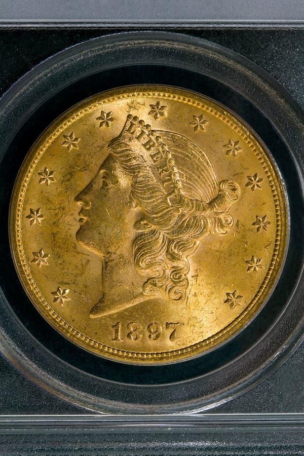 1897 guld Liberty Coin för Förenta staterna $20 royaltyfri foto