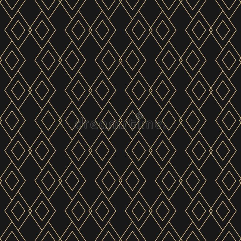 Guld- linjär textur för vektor Geometrisk sömlös modell med diamantformer vektor illustrationer