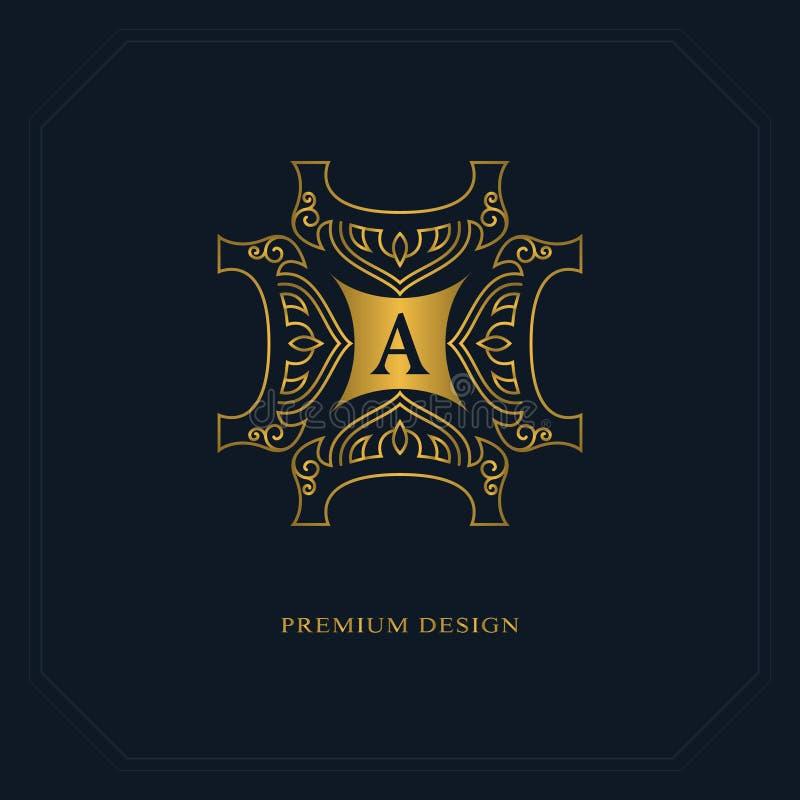 Guld- linje diagrammonogram Logodesign för elegant konst Märka A Behagfull mall Affärstecken, identitet för restaurangen, royalty vektor illustrationer