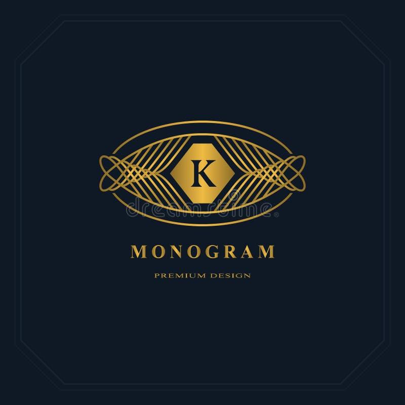 Guld- linje diagrammonogram Logodesign för elegant konst Märka K royaltyfri illustrationer