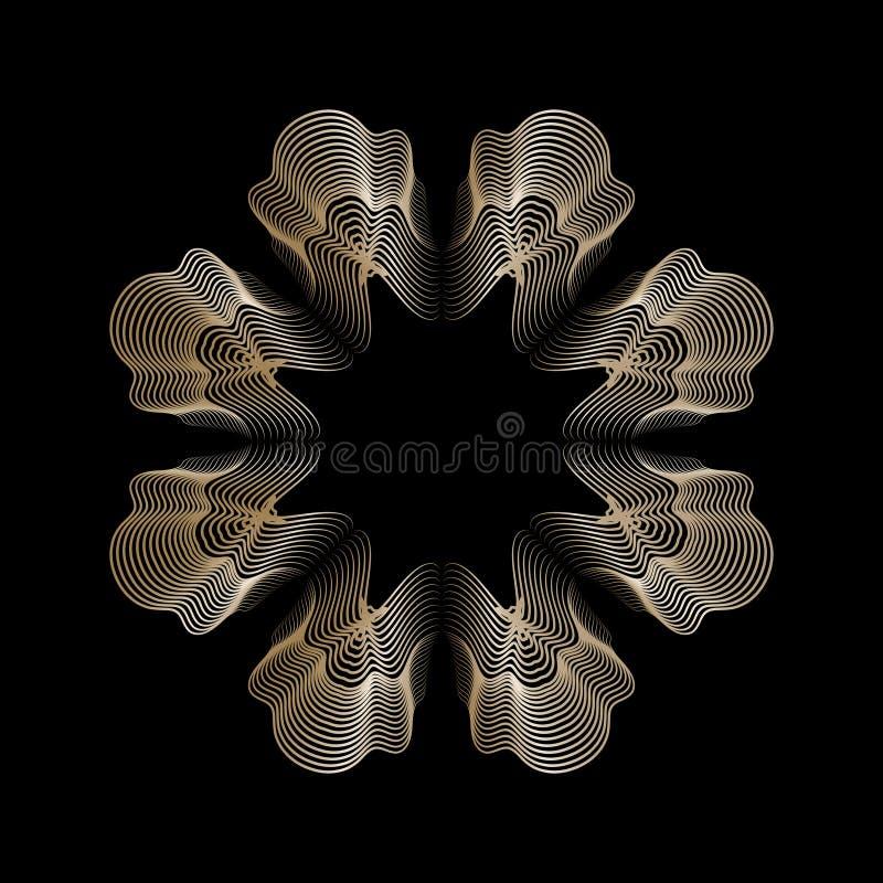 Guld- linje mandala för rosett för stilguillocheblomma royaltyfri illustrationer