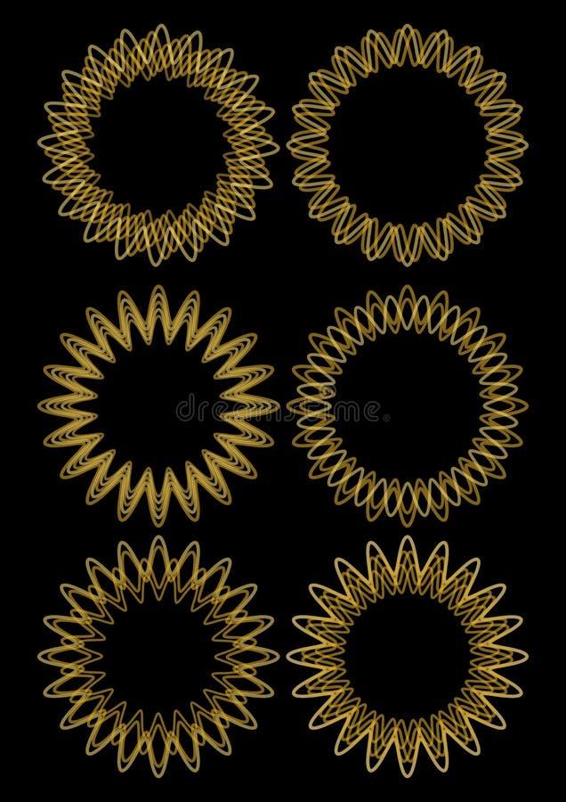 Guld- linje planlagd uppsättning för cirkelvektorram Fina dekorativa ramar från guld- tråd på svart bakgrund Beståndsdelar för ly royaltyfri illustrationer
