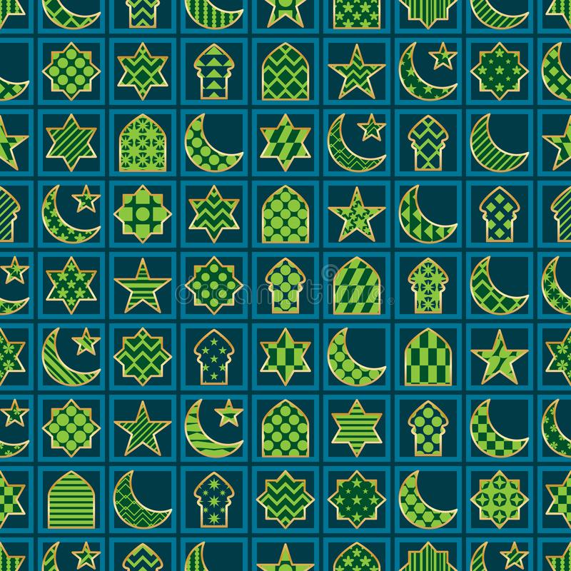 Guld- linje sömlös modell för Ramadanbeståndsdelsnitt för ram stock illustrationer