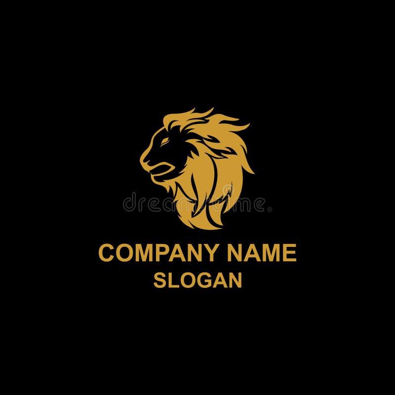 Guld- Lion Head Logo stock illustrationer
