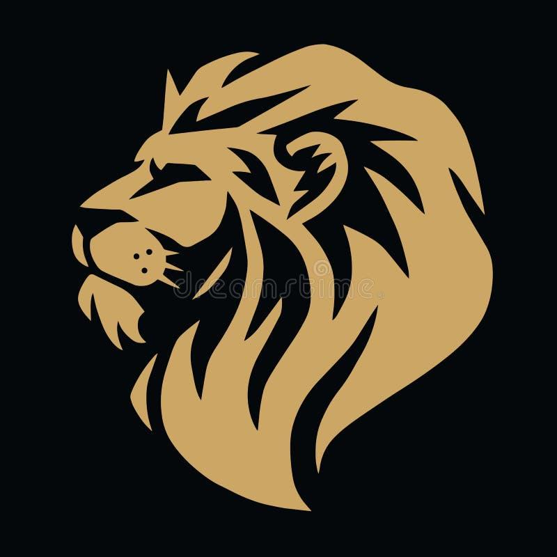 Guld- Lion Logo Vector Template Design Illustration vektor illustrationer