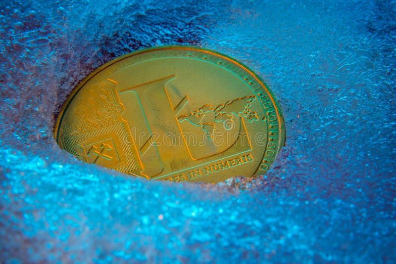 Guld- Litecoin mynt, lite myntonline-digital valuta som frysas i den blåa isen Begrepp av kvarterkedjan, marknadskrasch fryst royaltyfri bild