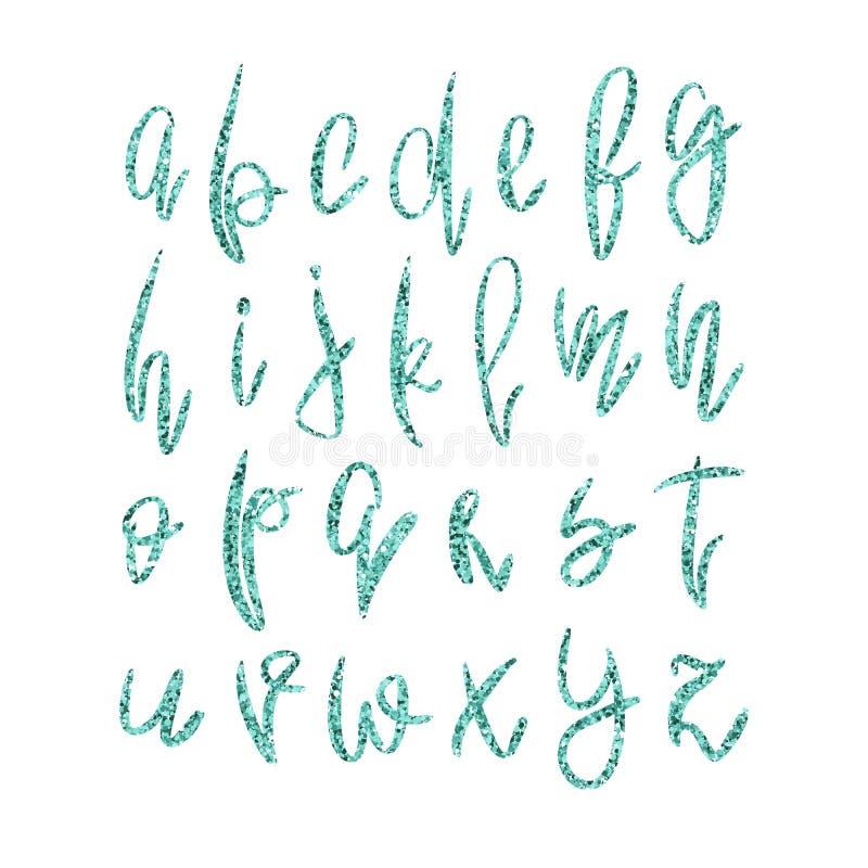 Guld- litet alfabet för vektor royaltyfri illustrationer