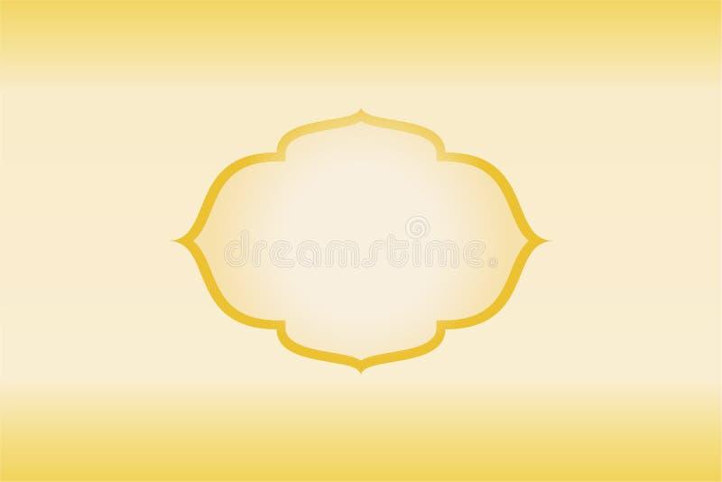 Guld- guld- ljus bakgrund för ram vektor illustrationer