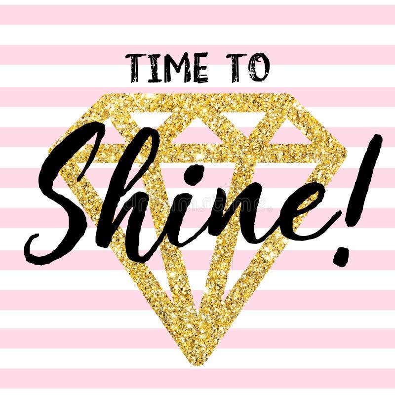 Guld- ljus diamant med ett citationstecken Tid som skiner Randig vit-rosa färger bakgrund stock illustrationer