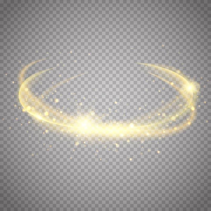 Guld- ljus effekt magiskt cirkelglöd vektor vektor illustrationer