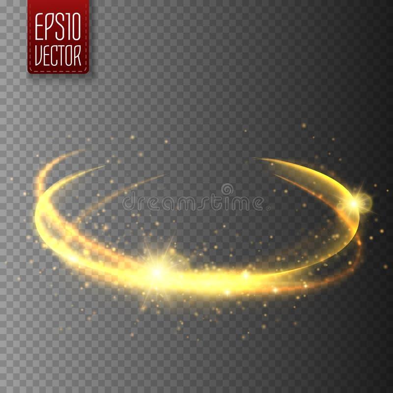 Guld- ljus effekt magiskt cirkelglöd vektor royaltyfri illustrationer